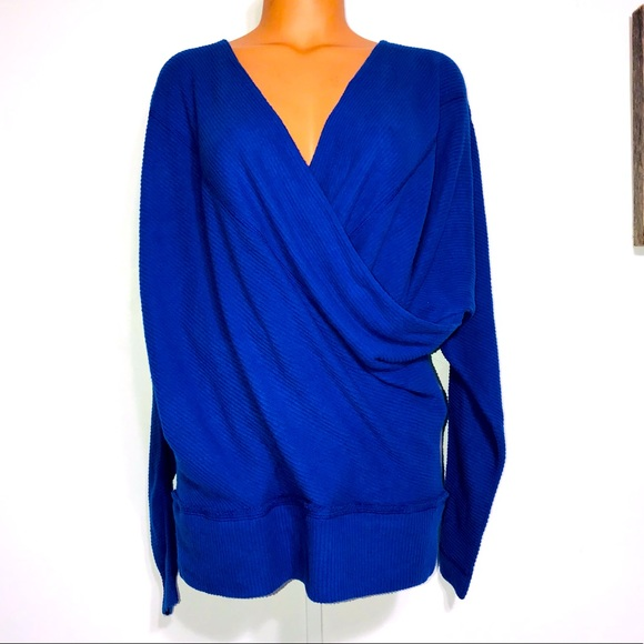Free People Cobalt Blue Wrap Sweater Xtra Small